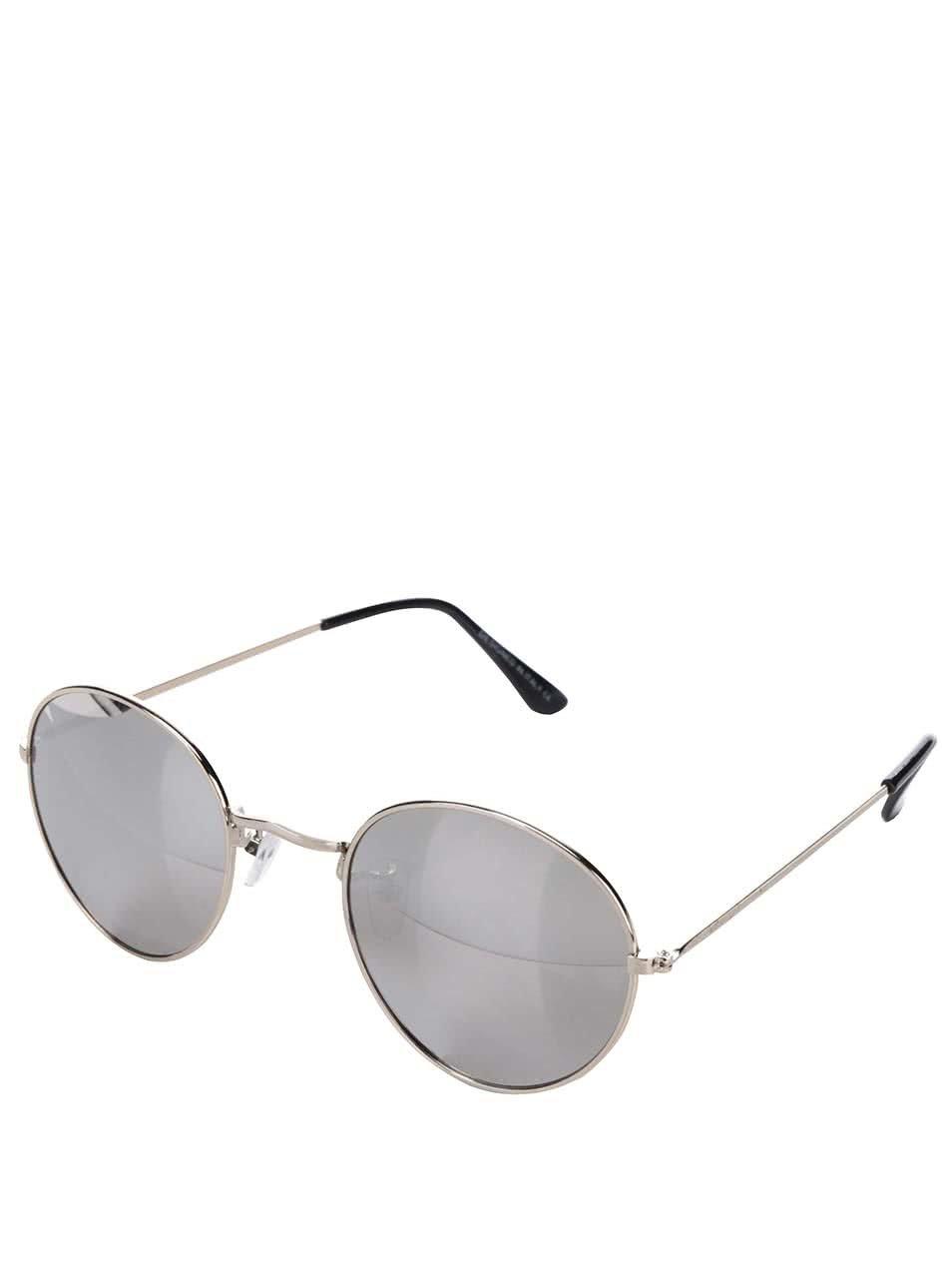 Sluneční brýle s obroučkami ve zlaté barvě a skly ve stříbrné barvě Haily´s Rondie