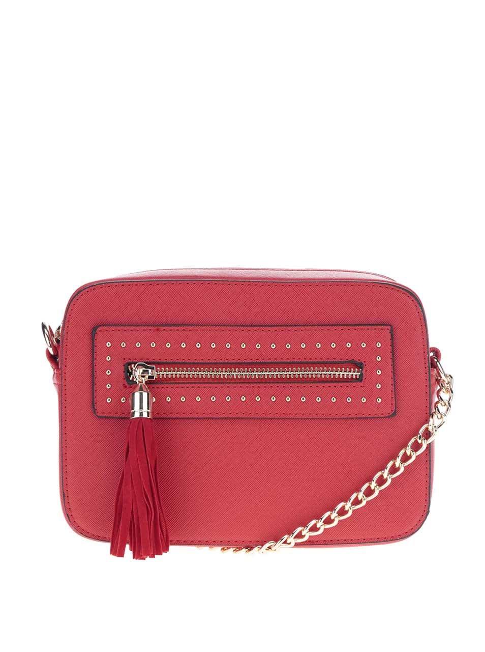 Červená crossbody kabelka se střapcem Miss Selfridge