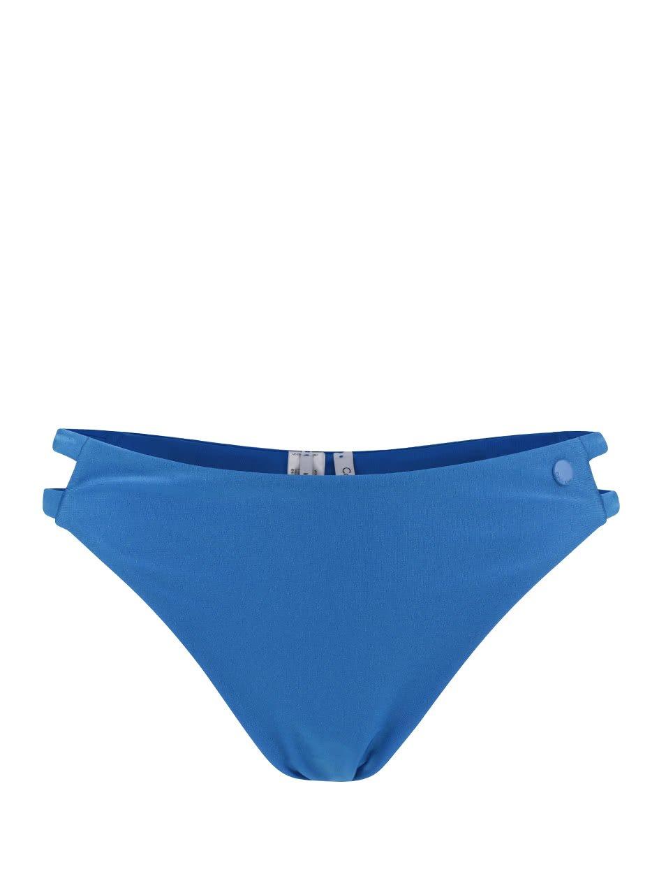 Modrý spodní díl dámských plavek s potiskem Calvin Klein