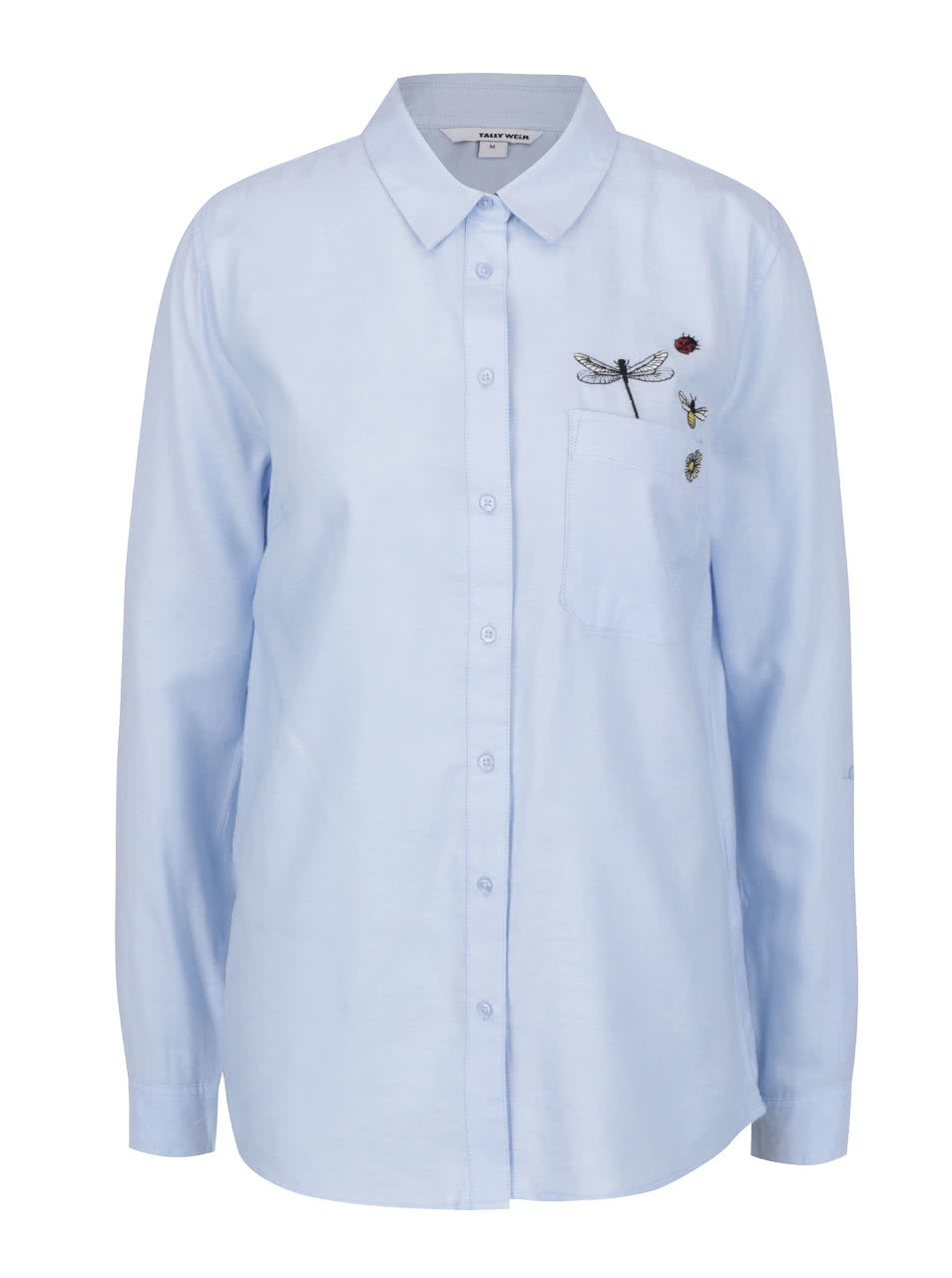 Modrá košile s výšivkou a dlouhým rukávem TALLY WEiJL