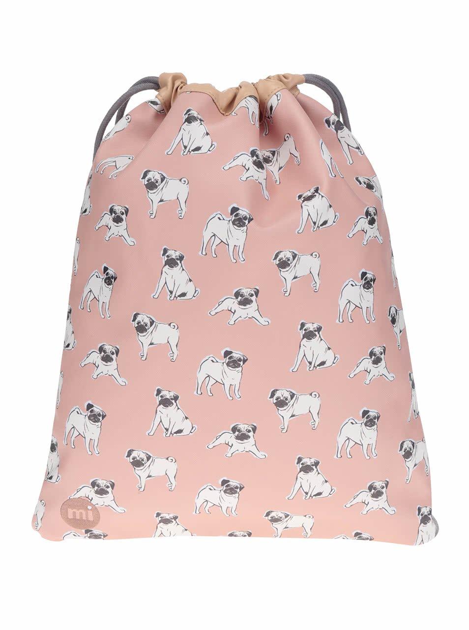 Světle růžový dámský vak s motivem psů Mi-Pac Pugs