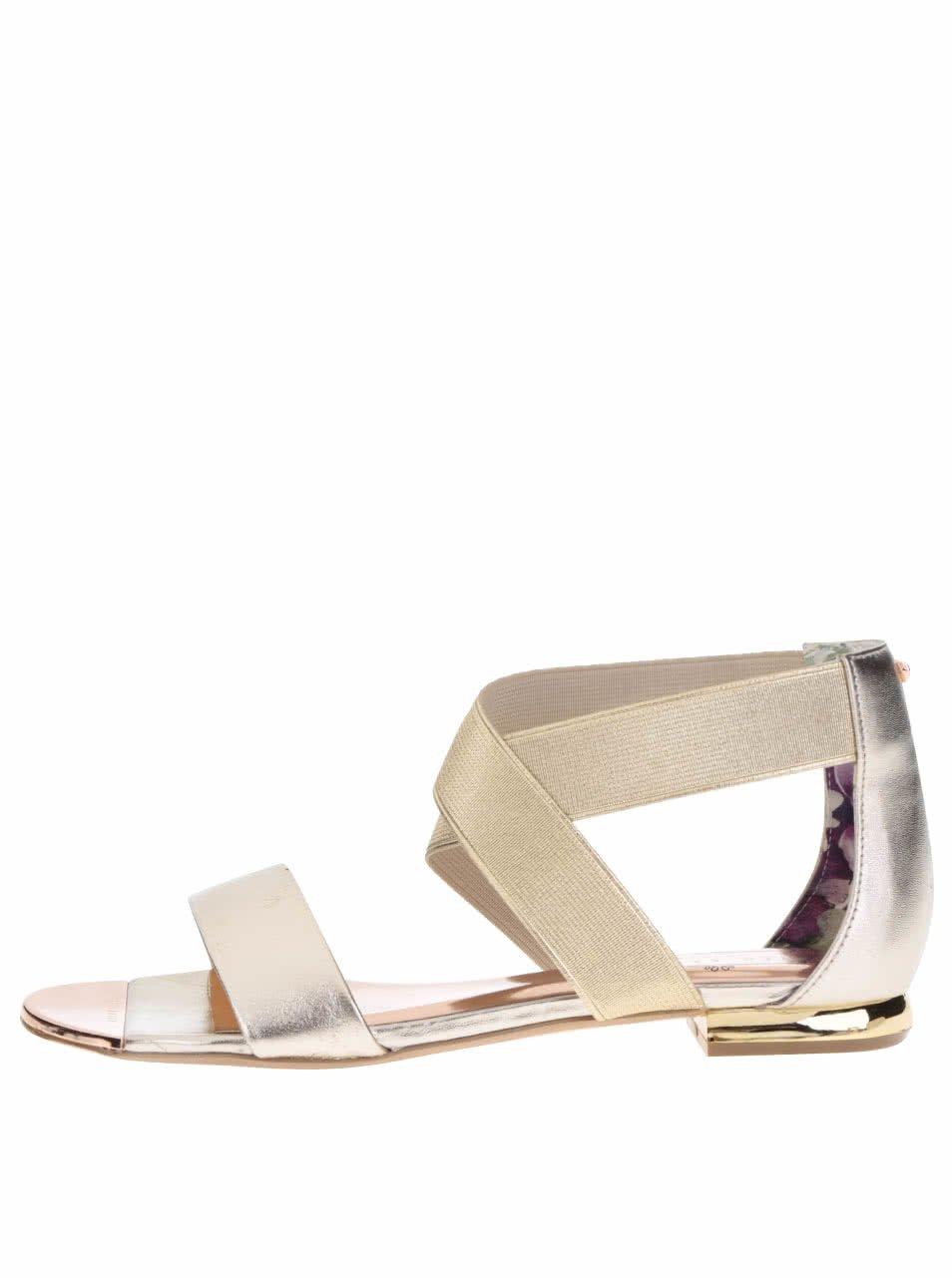 Páskové kožené sandály ve zlaté barvě Ted Baker Laana