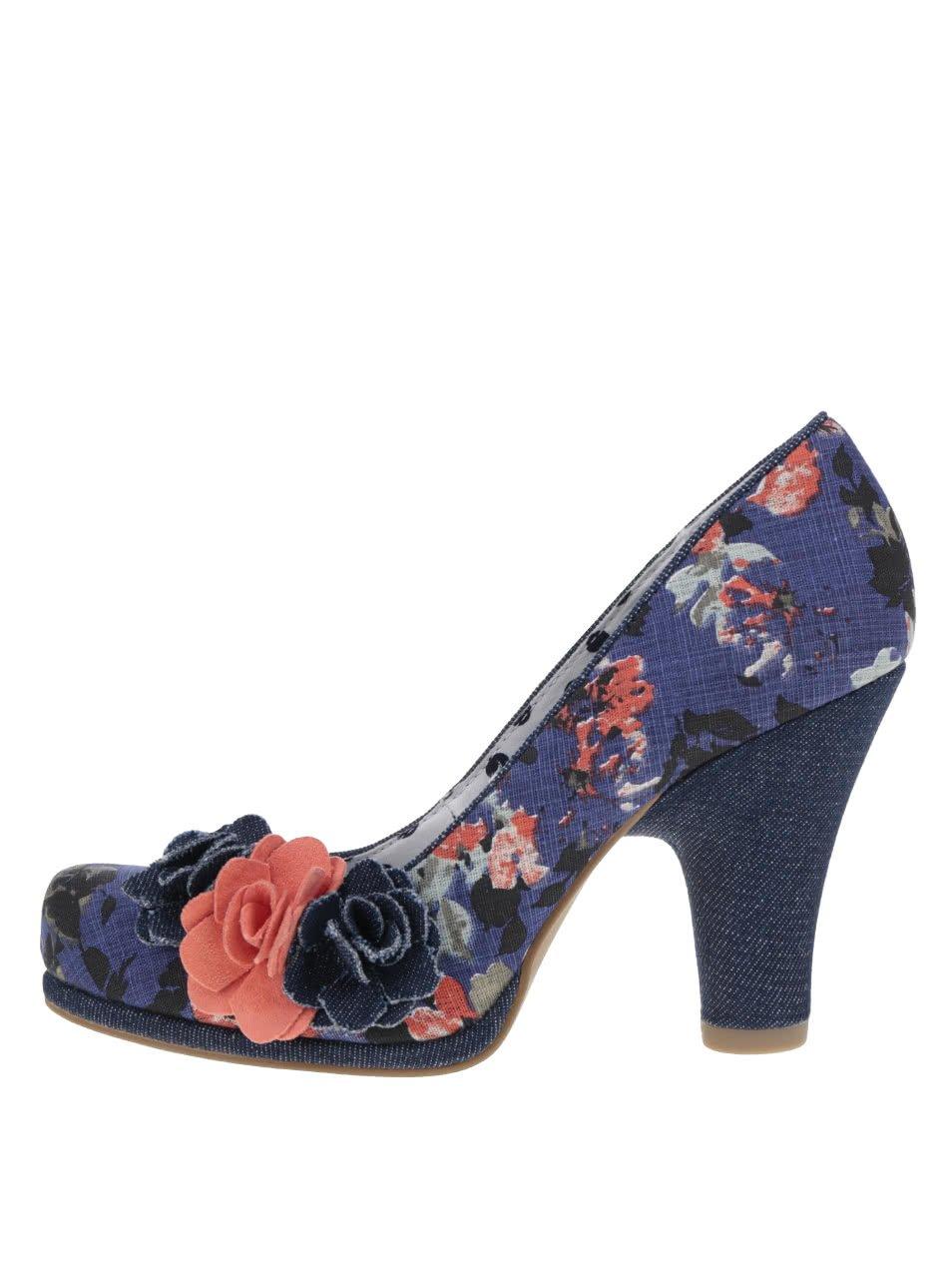 Tmavě modré květované lodičky s ozdobnými květinami Ruby Shoo Eva