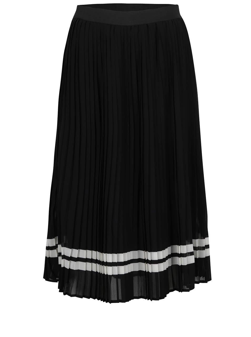 Černá plisovaná midi sukně s bílými pruhy ONLY Lea