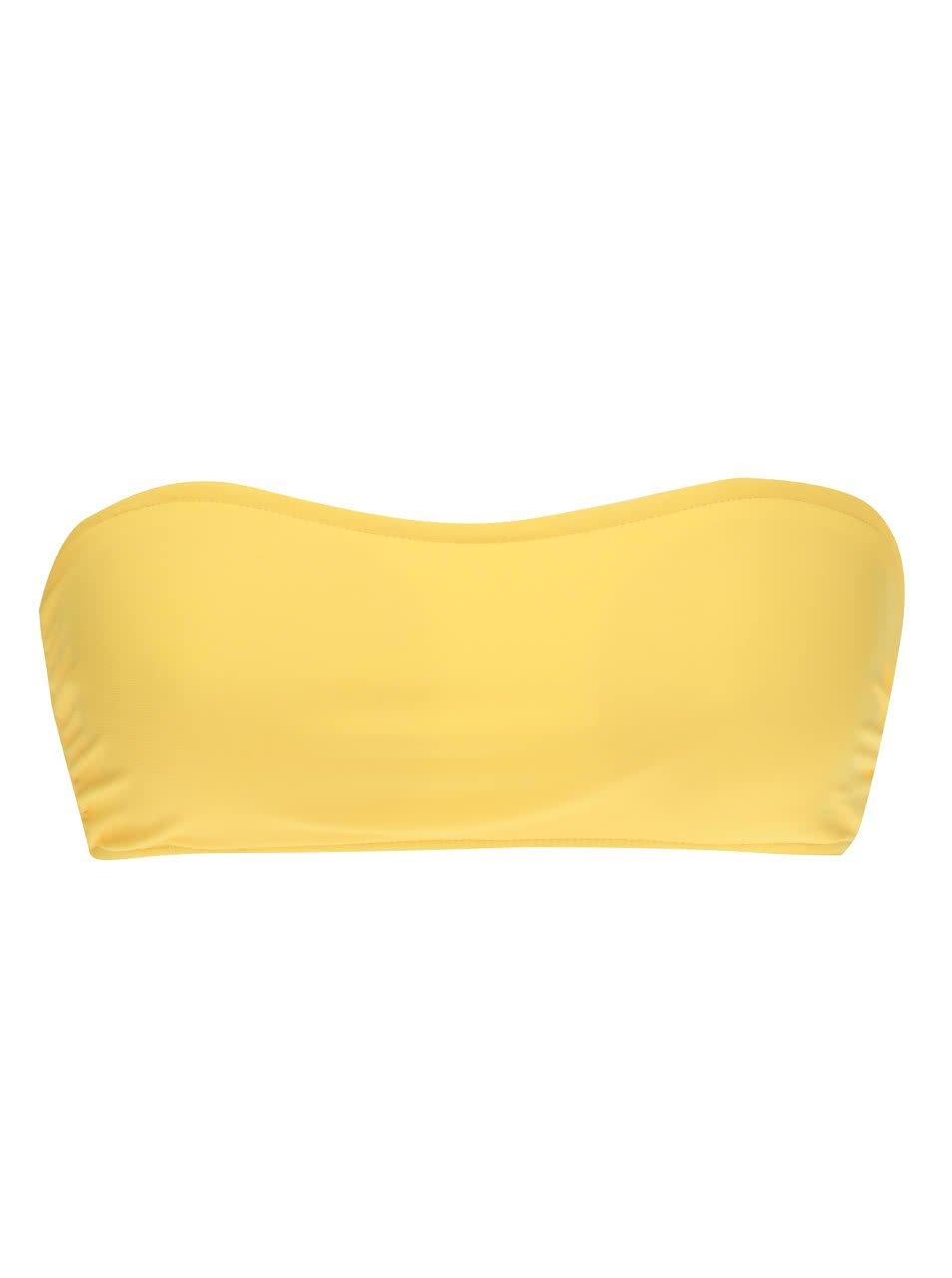 Žlutý vrchní díl plavek bez ramínek VERO MODA Marie