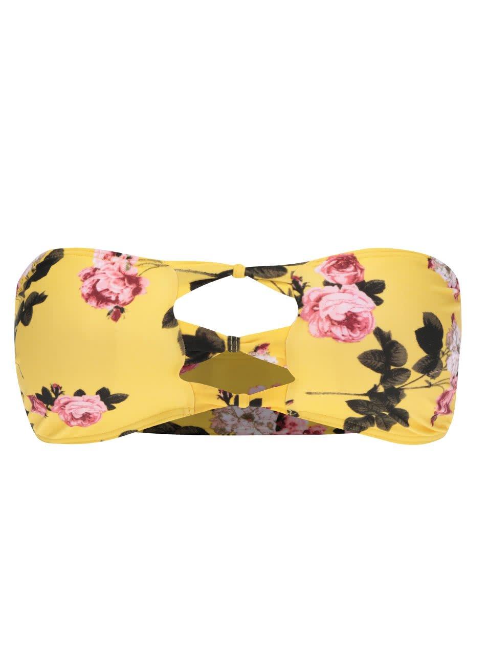 Žlutý květovaný vrchní díl plavek bez ramínek VERO MODA Julia