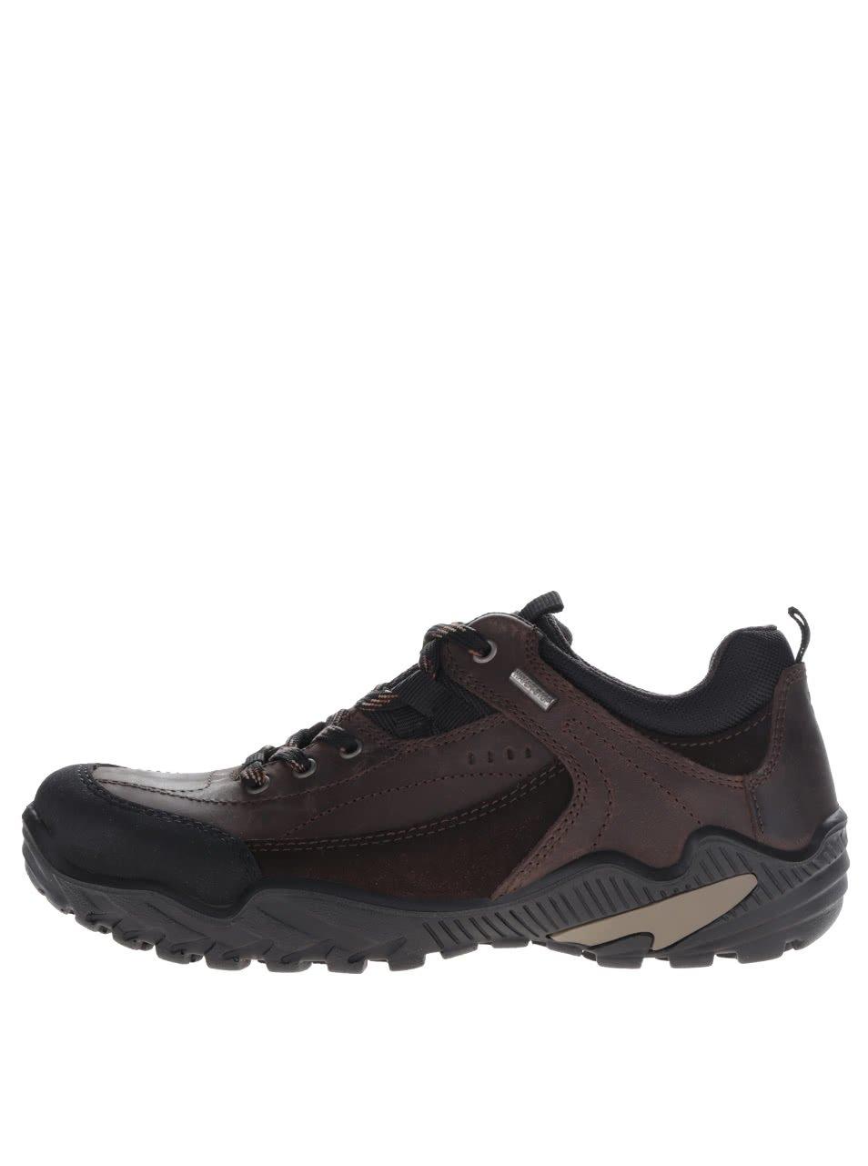 Tmavě hnědé pánské kožené boty s detaily Weinbrenner