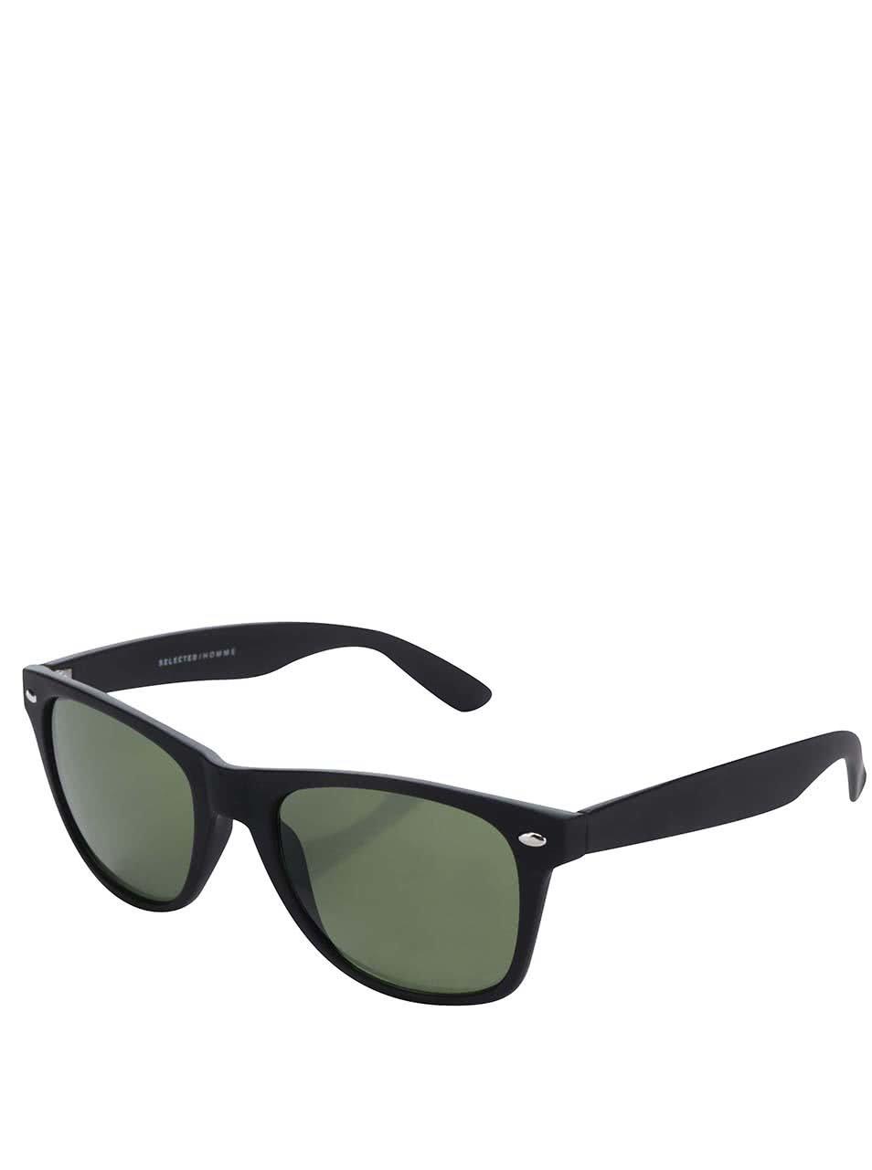 Černé sluneční brýle se zelenými skly Selected Homme