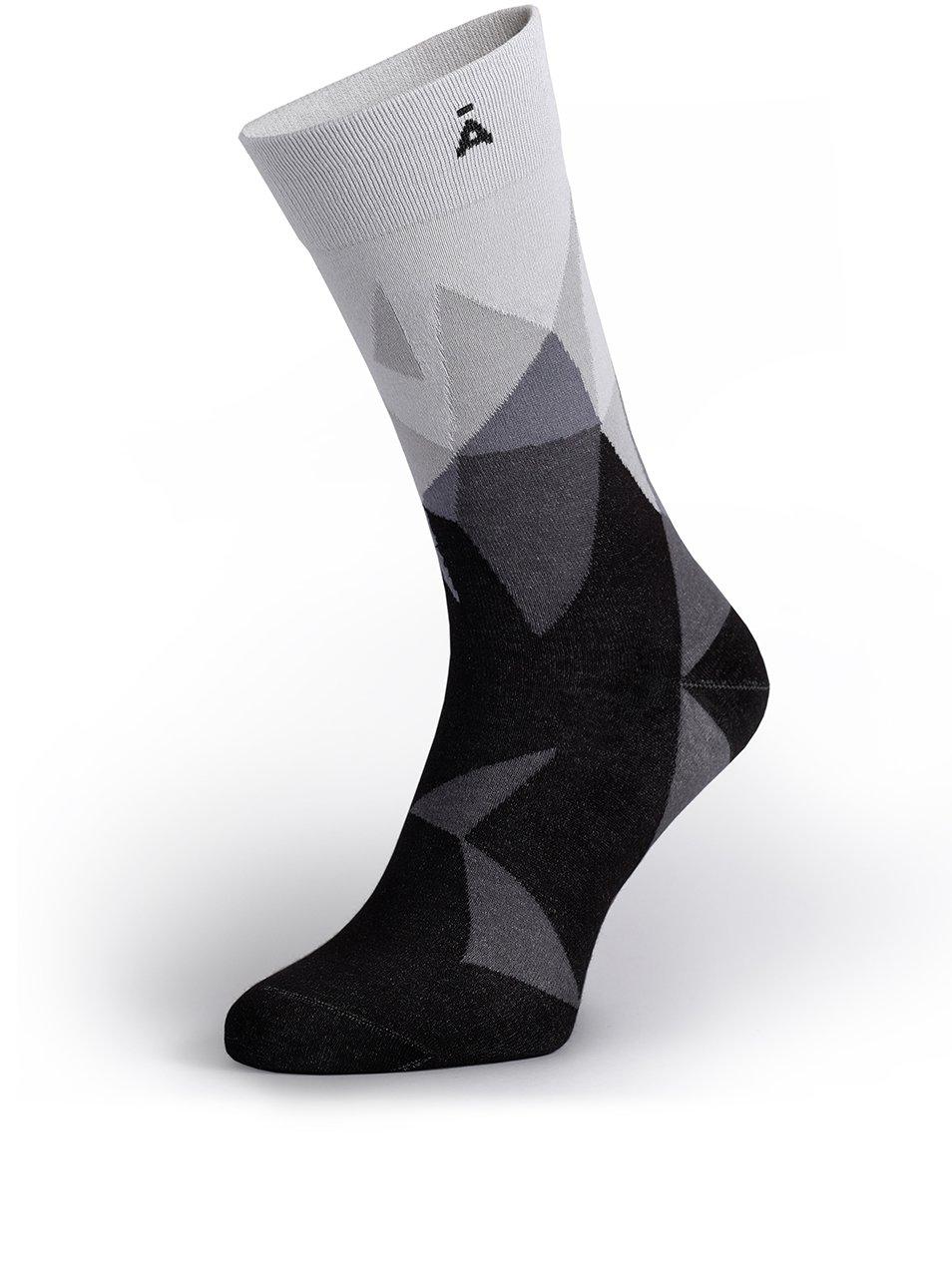 Šedo-černé vzorované unisex ponožky V páru