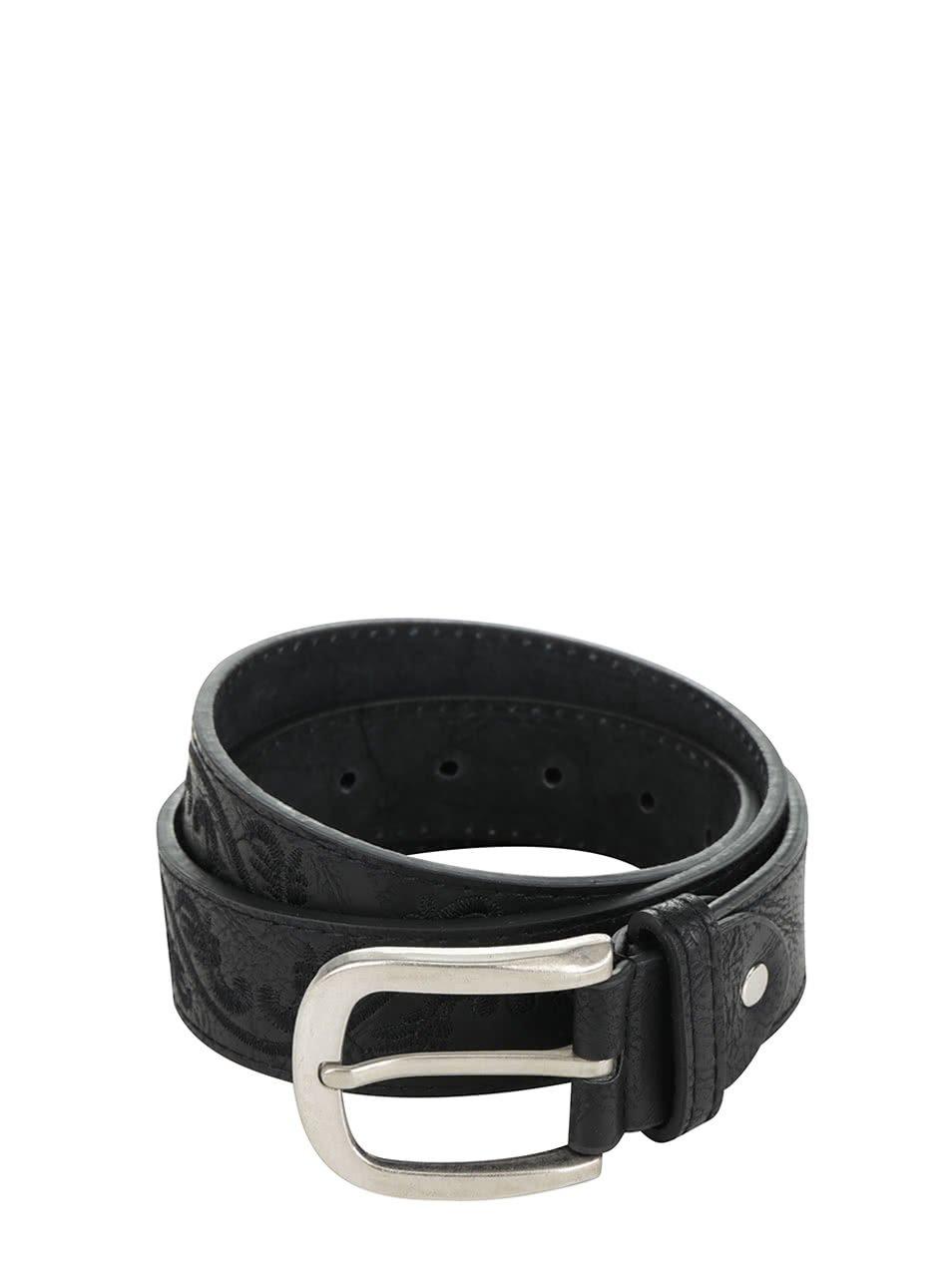 Černý kožený pásek s výšívkou Haily's Solene