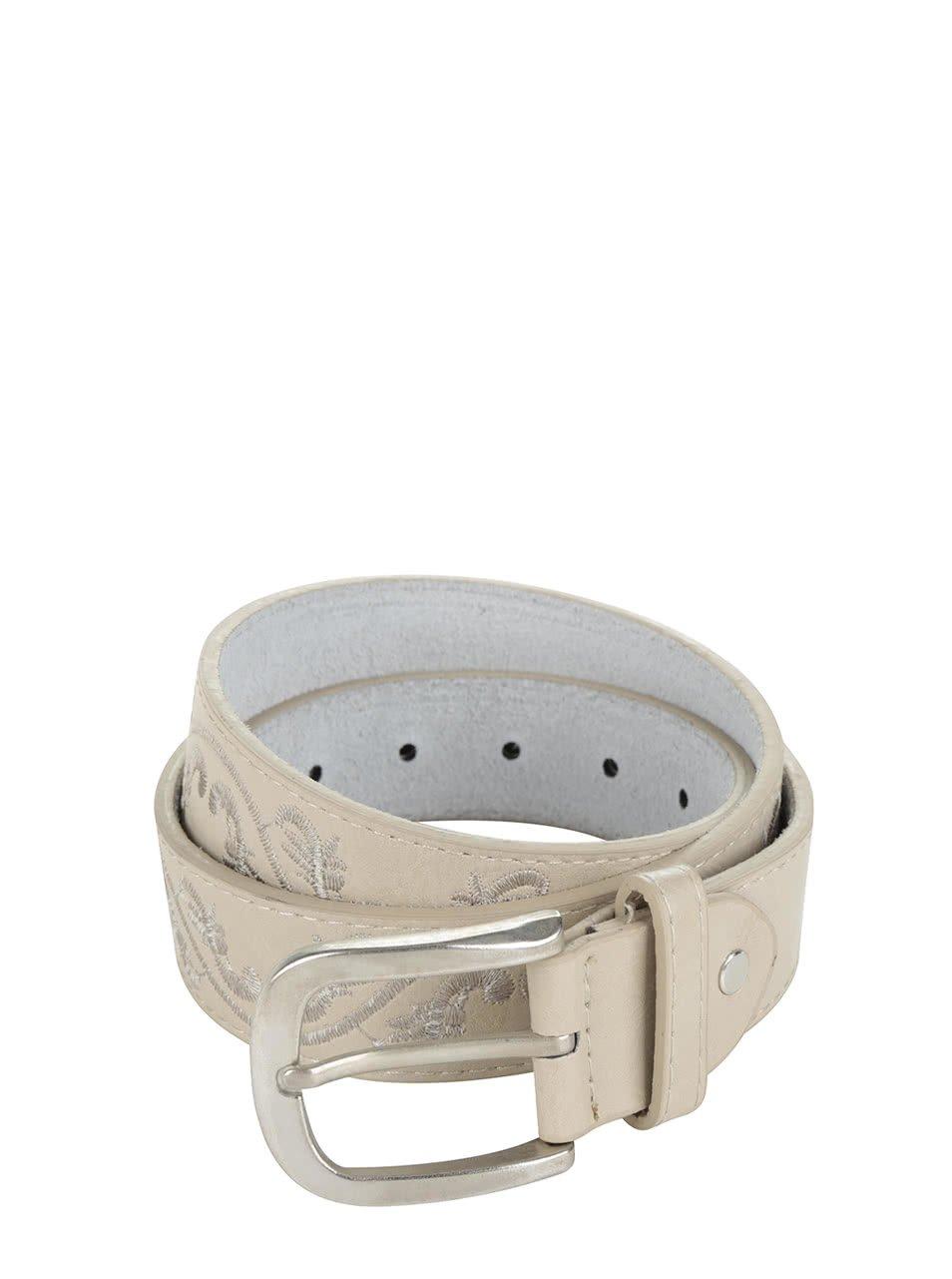 Béžový kožený pásek s výšivkou Haily's Solene