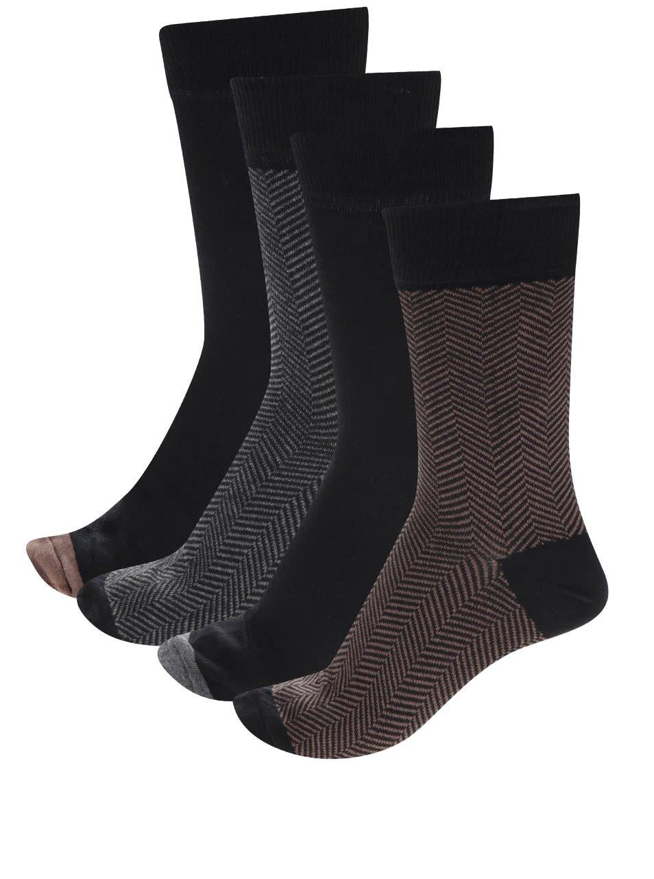 Sada čtyř párů vzorovaných ponožek v černé, hnědé a šedé barvě Burton Menswear London