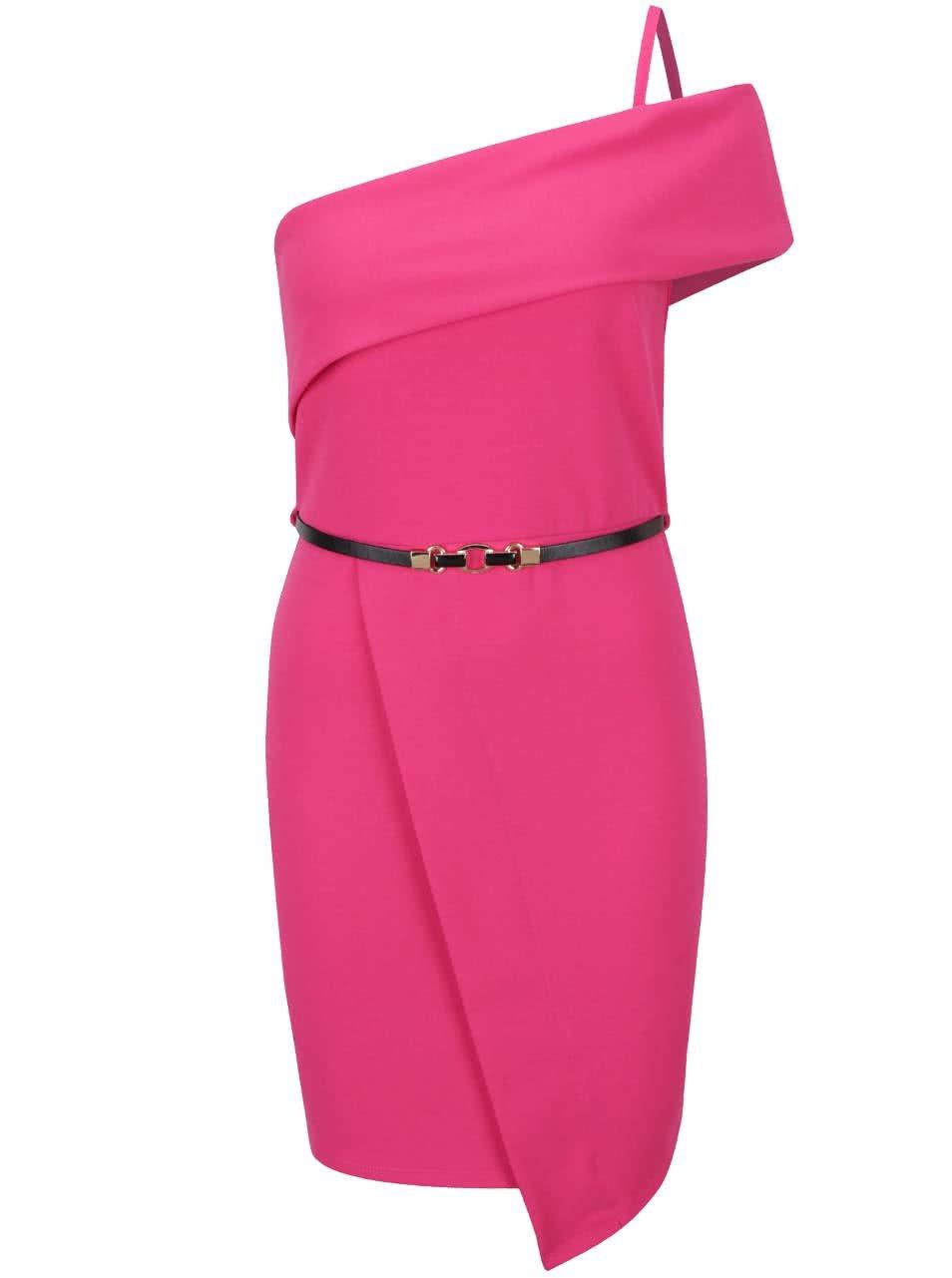 Růžové asymetrické šaty s páskem Miss Selfridge