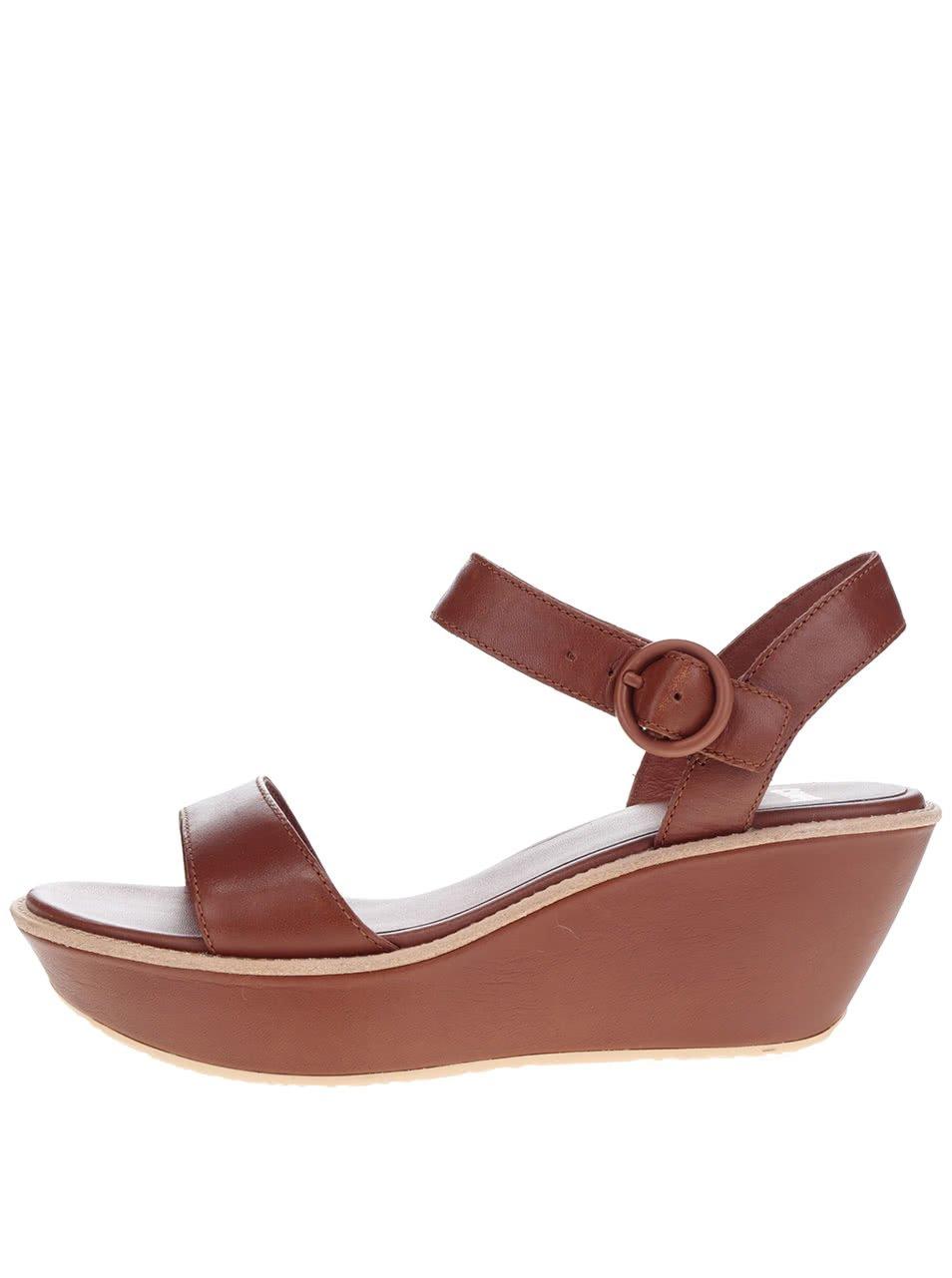 Hnědé dámské kožené sandálky na platformě Camper