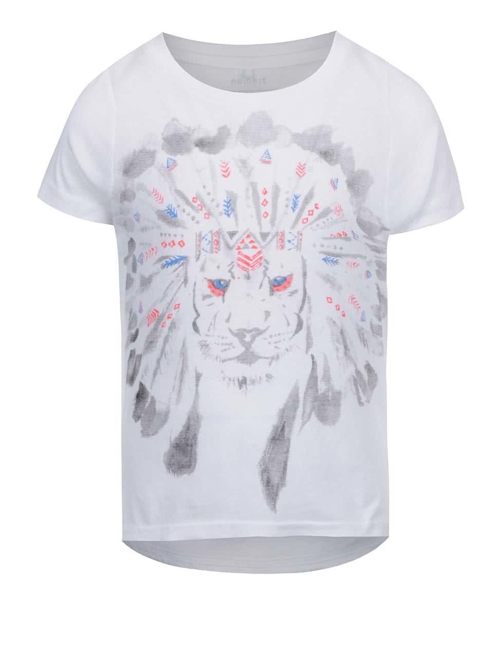 Biele dievčenské tričko s potlačou lva name it Kion