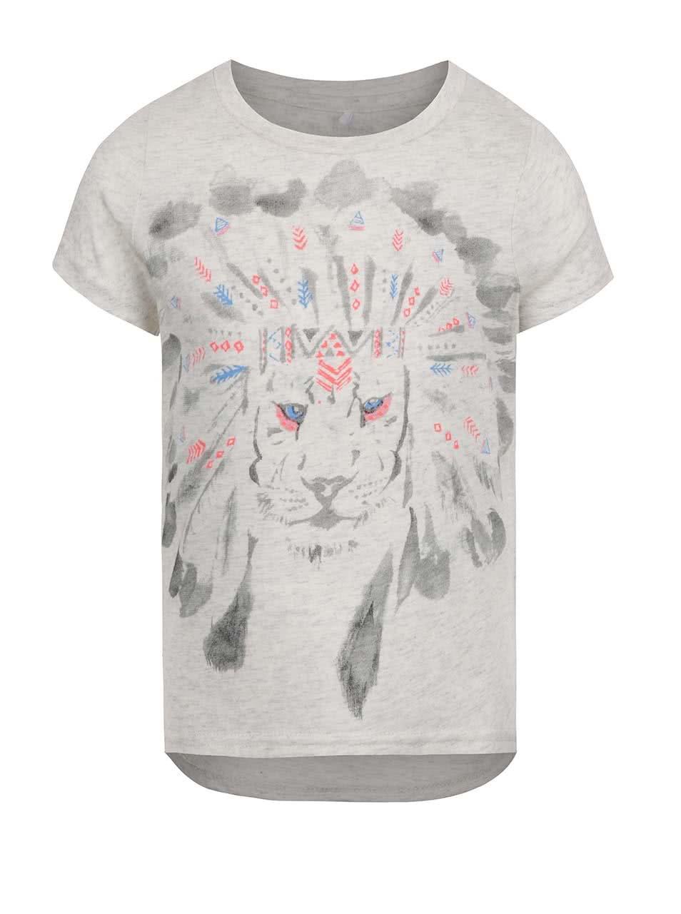 Sivé dievčenské tričko s potlačou lva name it Kion