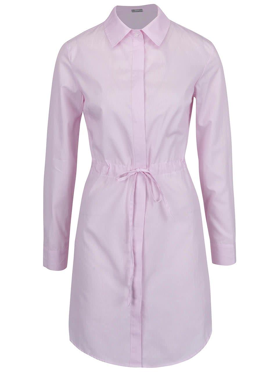Světle růžové pruhované košilové šaty ZOOT - SLEVA!  134a3e8ac6