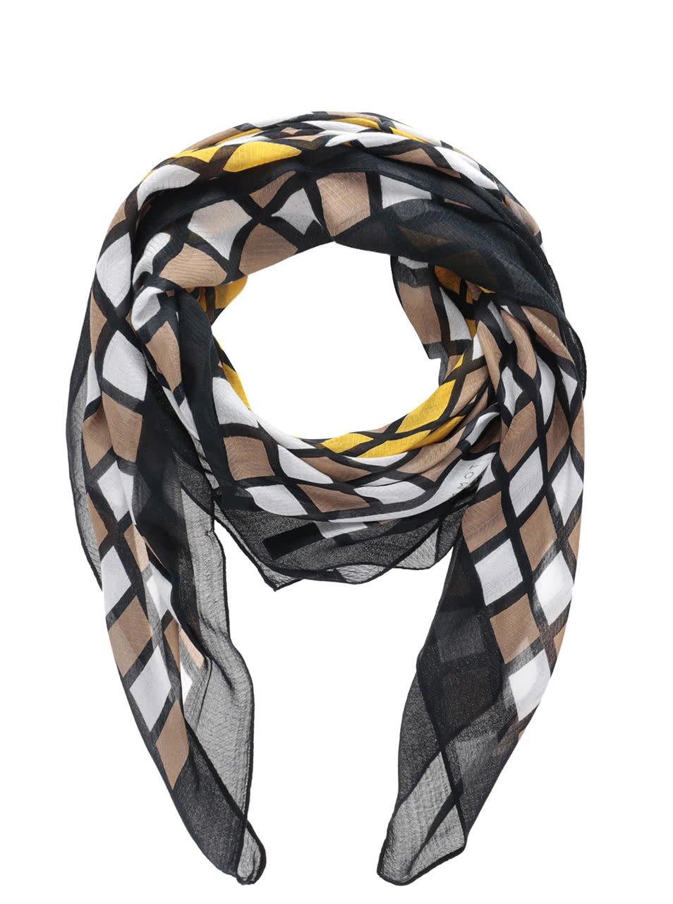 Hnědo-černý dámský vzorovaný šátek Tommy Hilfiger