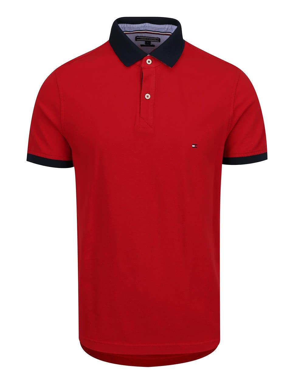 Červené pánské polo triko s modrým límcem Tommy Hilfiger