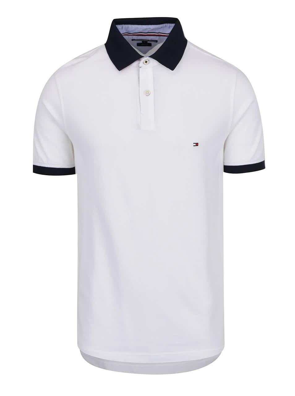 Bílé pánské polo triko s modrým límcem Tommy Hilfiger