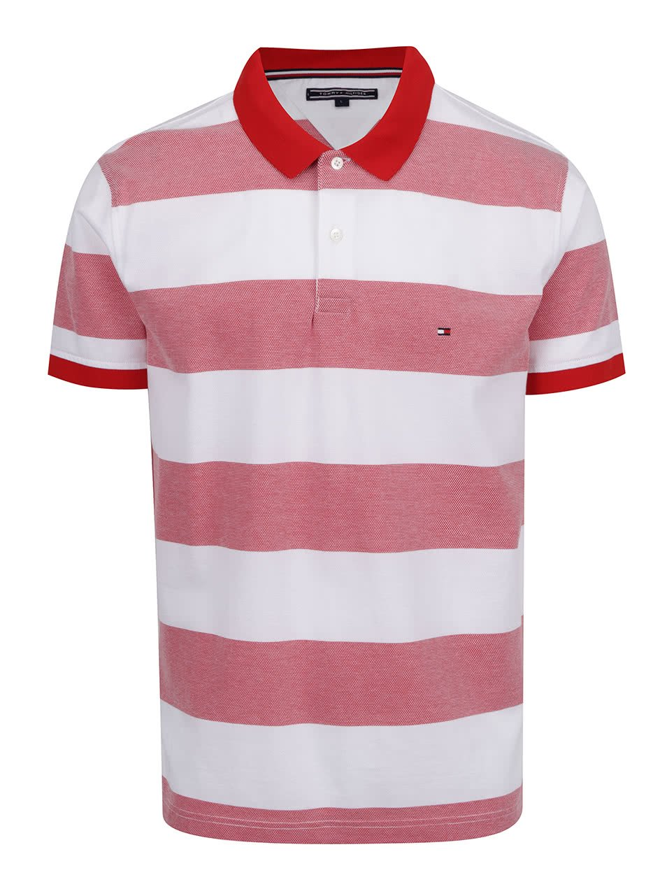 Bílo-červené pánské pruhované polo triko Tommy Hilfiger