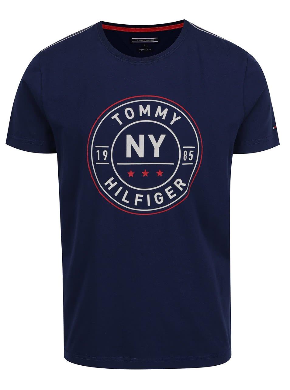 Tmavě modré pánské triko s potiskem Tommy Hilfiger