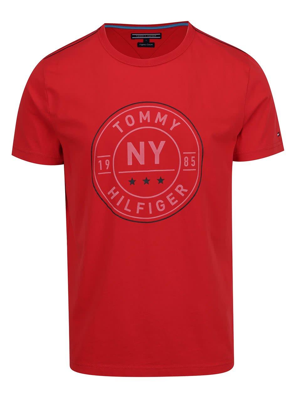 Červené pánské triko s potiskem Tommy Hilfiger