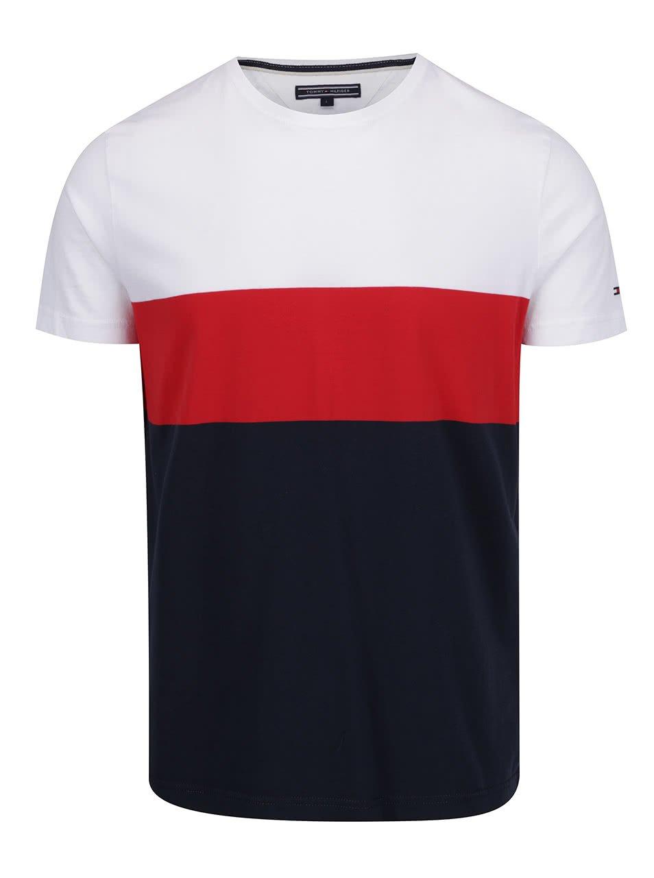 Bílo-modré pánské triko Tommy Hilfiger