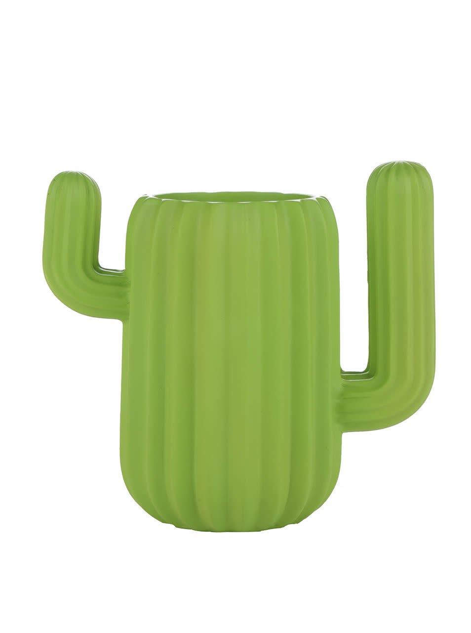 Zelená nádoba na tužky ve tvaru kaktusu Mustard