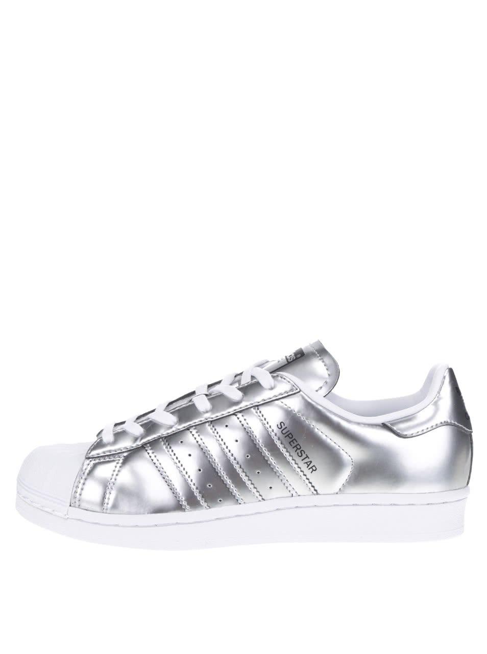Dámské metalické tenisky v stříbrné barvě adidas Originals Superstar