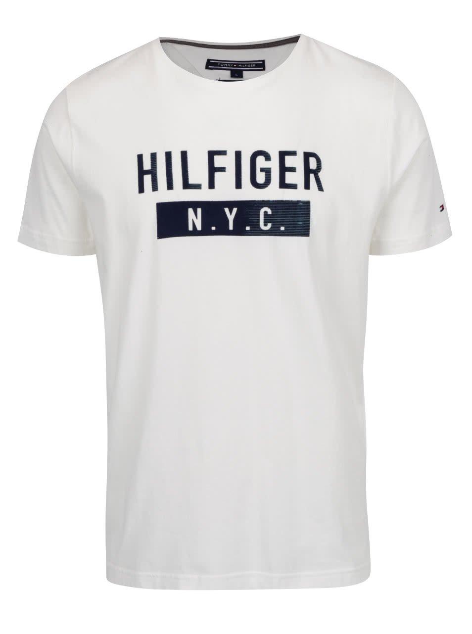 Krémové pánské triko s potiskem Tommy Hilfiger