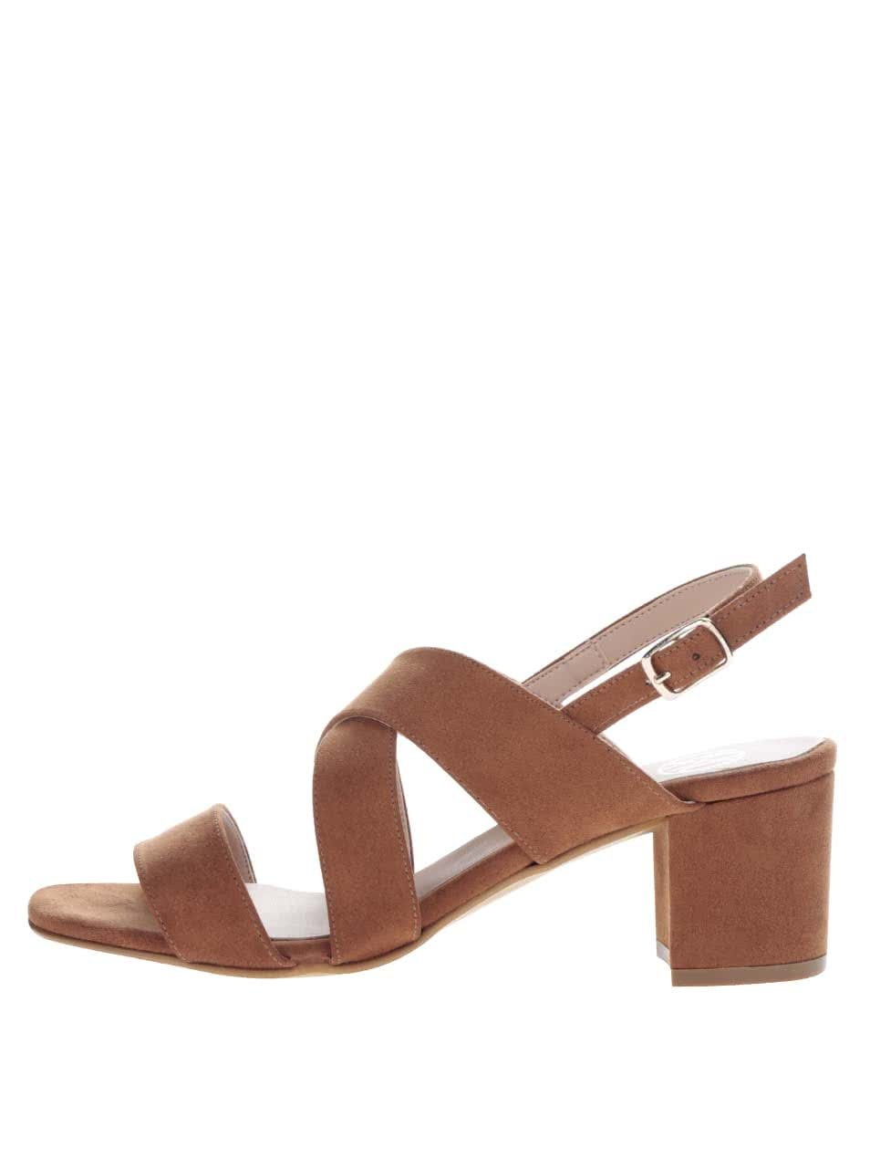 Hnědé sandálky v semišové úpravě na podpatku OJJU