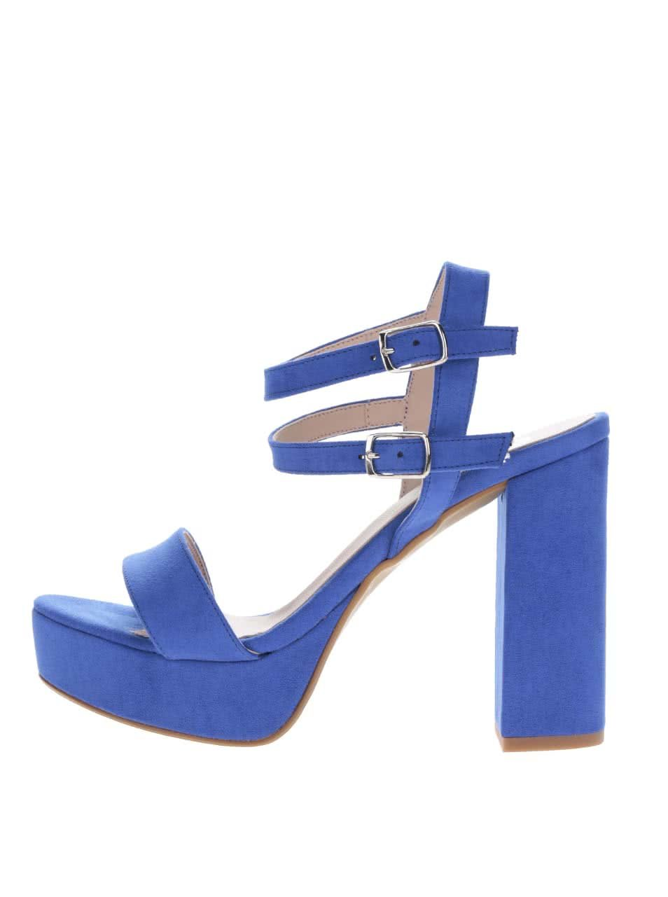 Modré sandálky v semišové úpravě na podpatku OJJU