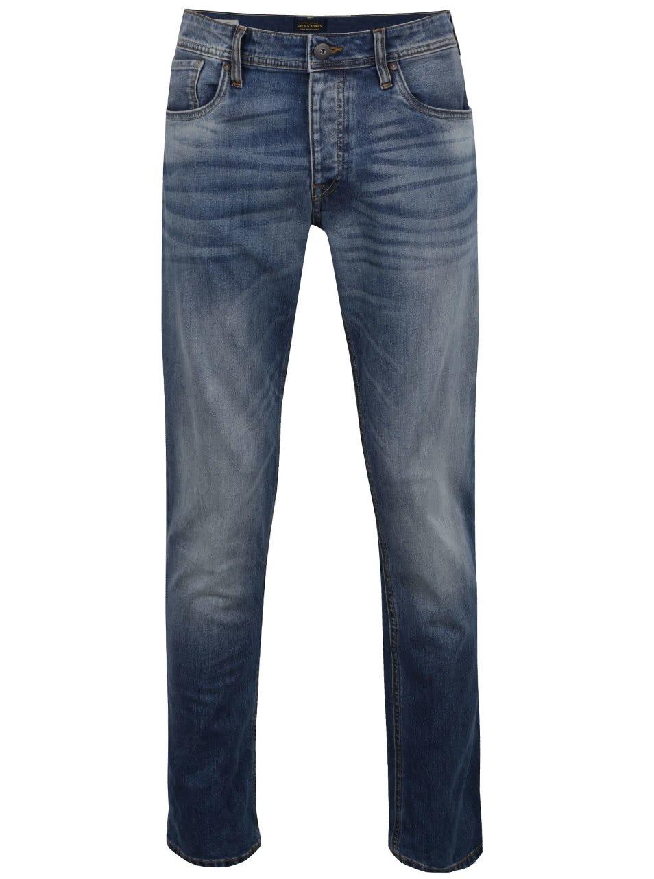 Modré džíny s vyšisovaným efektem Jack & Jones Mike