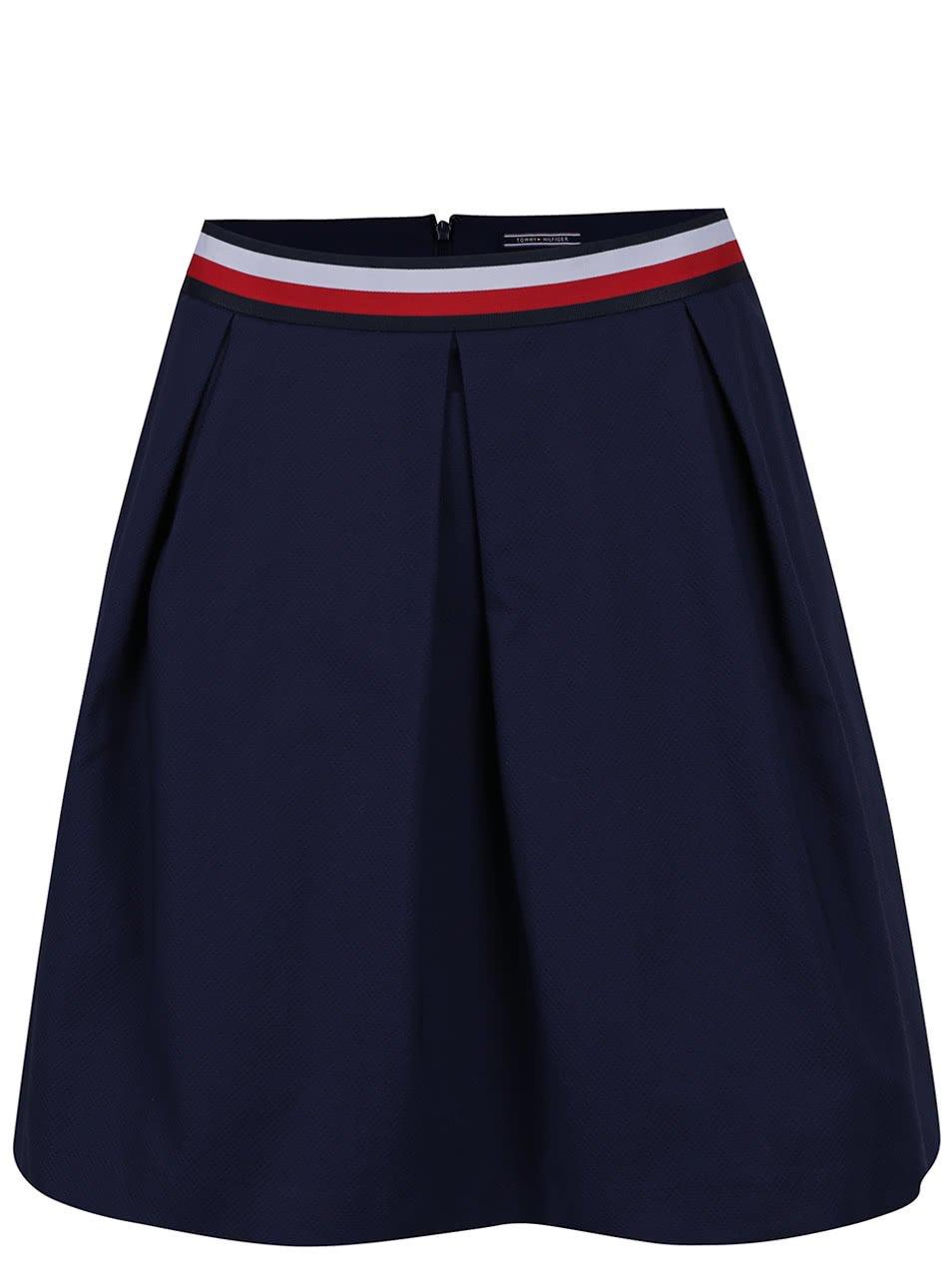 Tmavě modrá áčková sukně Tommy Hilfiger