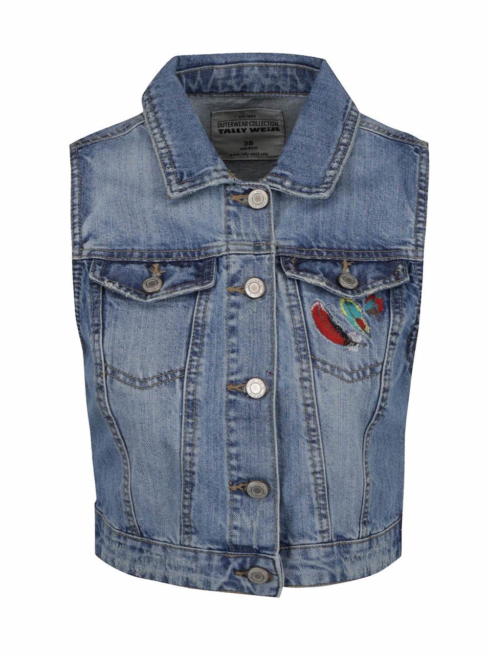 Modrá džínová vesta s růžovou výšivkou na zádech TALLY WEiJL
