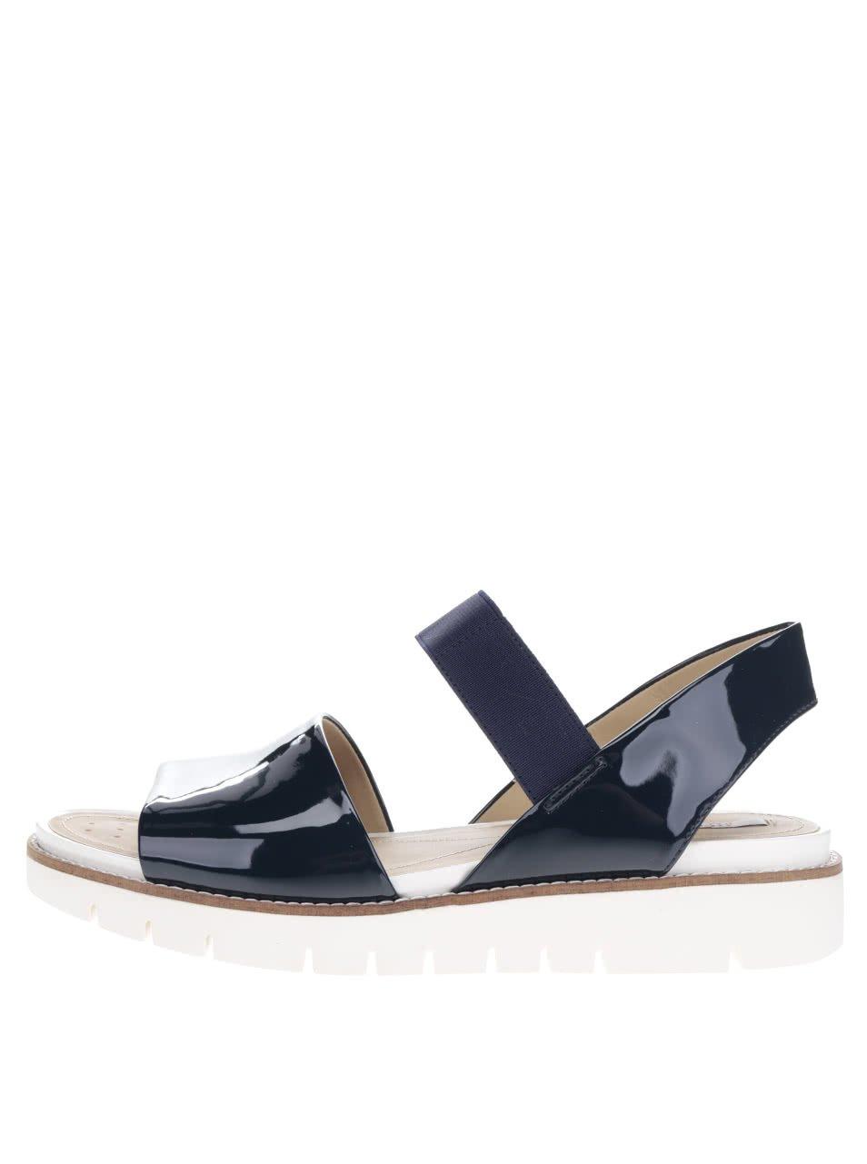Tmavě modré dámské kožené sandály Geox Darline