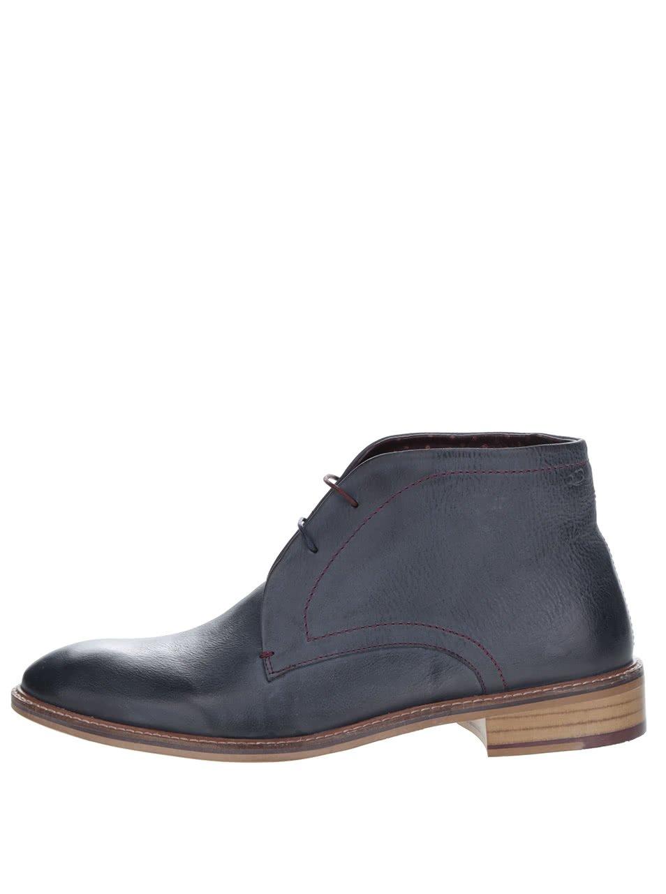 Tmavě modré kožené kotníkové boty London Brogues Wister Chukka