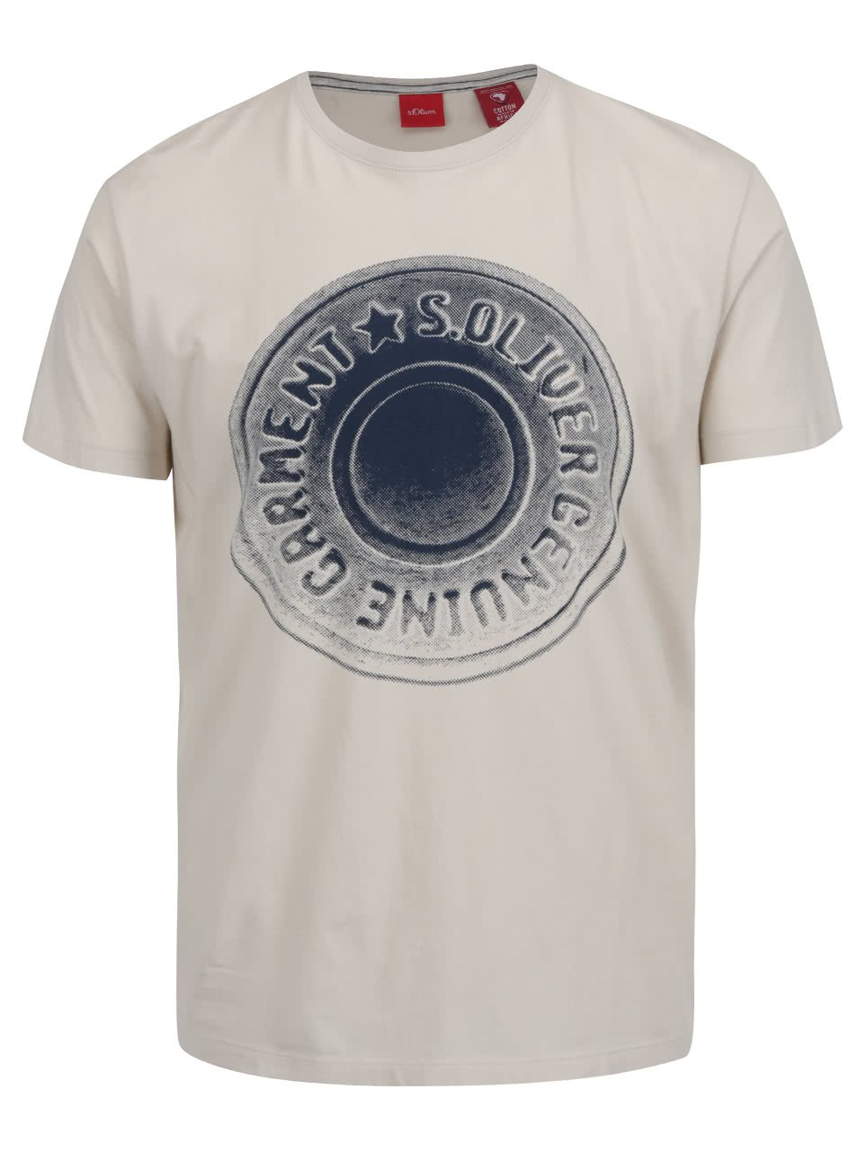 Krémové pánské triko s modrým potiskem s.Oliver