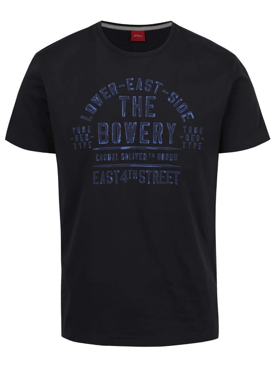 Tmavě šedé pánské triko s potiskem s.Oliver