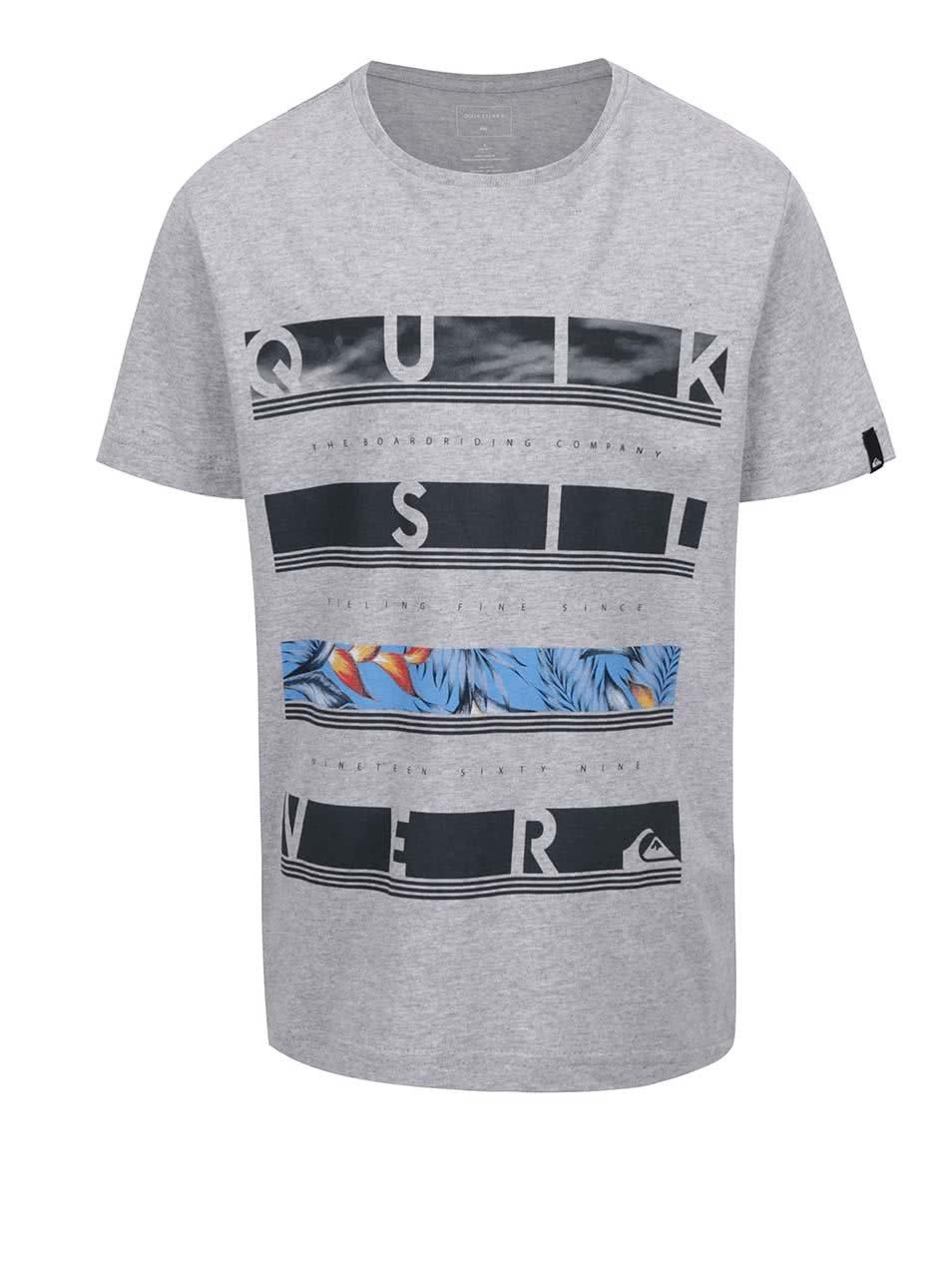 Šedé klučičí žíhané triko s potiskem Quiksilver