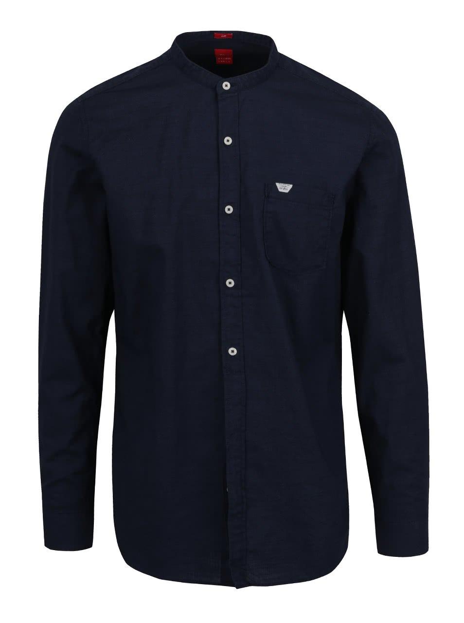 Tmavě modrá pánská košile bez límečku s kapsou s.Oliver