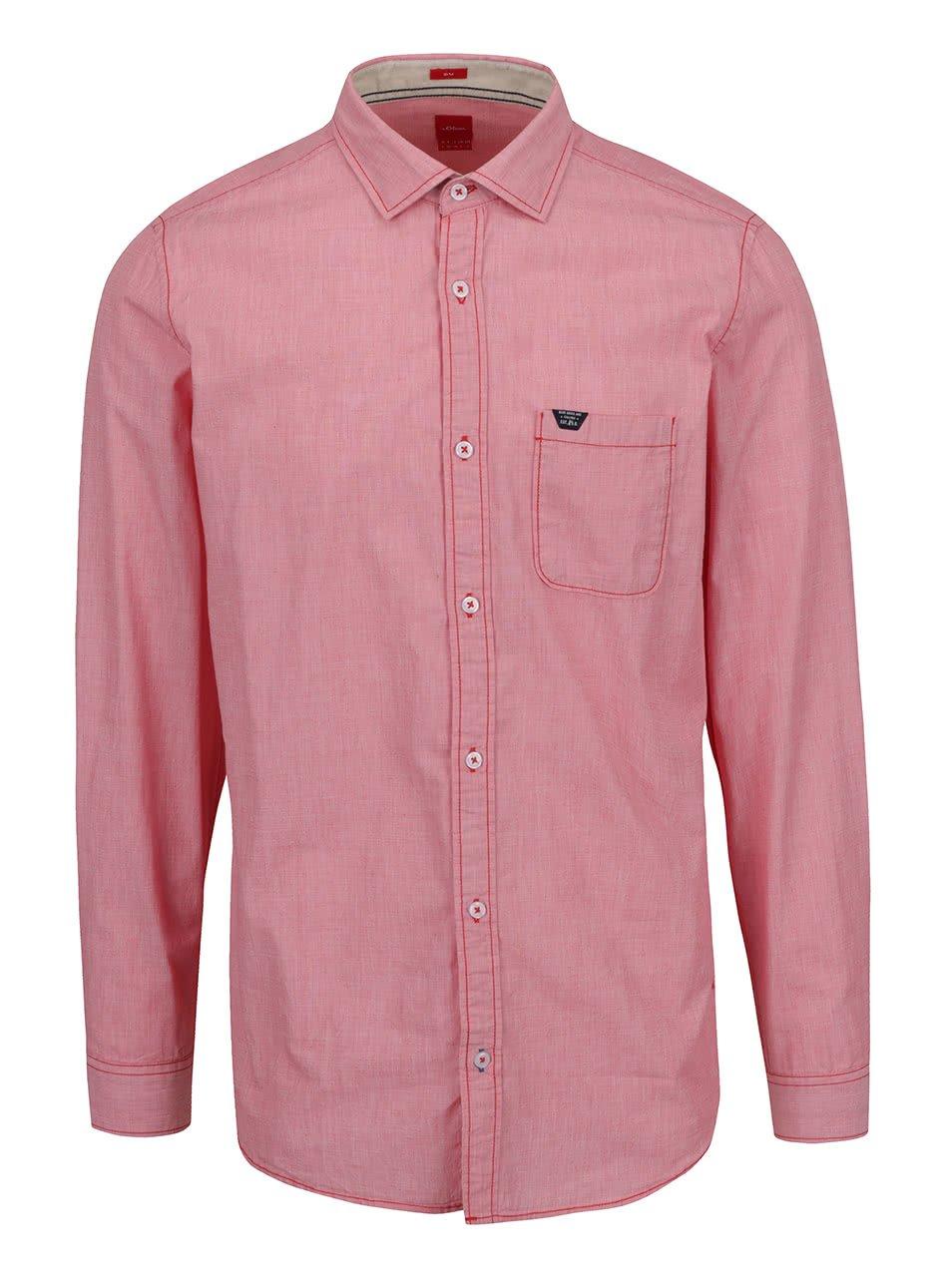 Červená pánská košile s kapsou s.Oliver