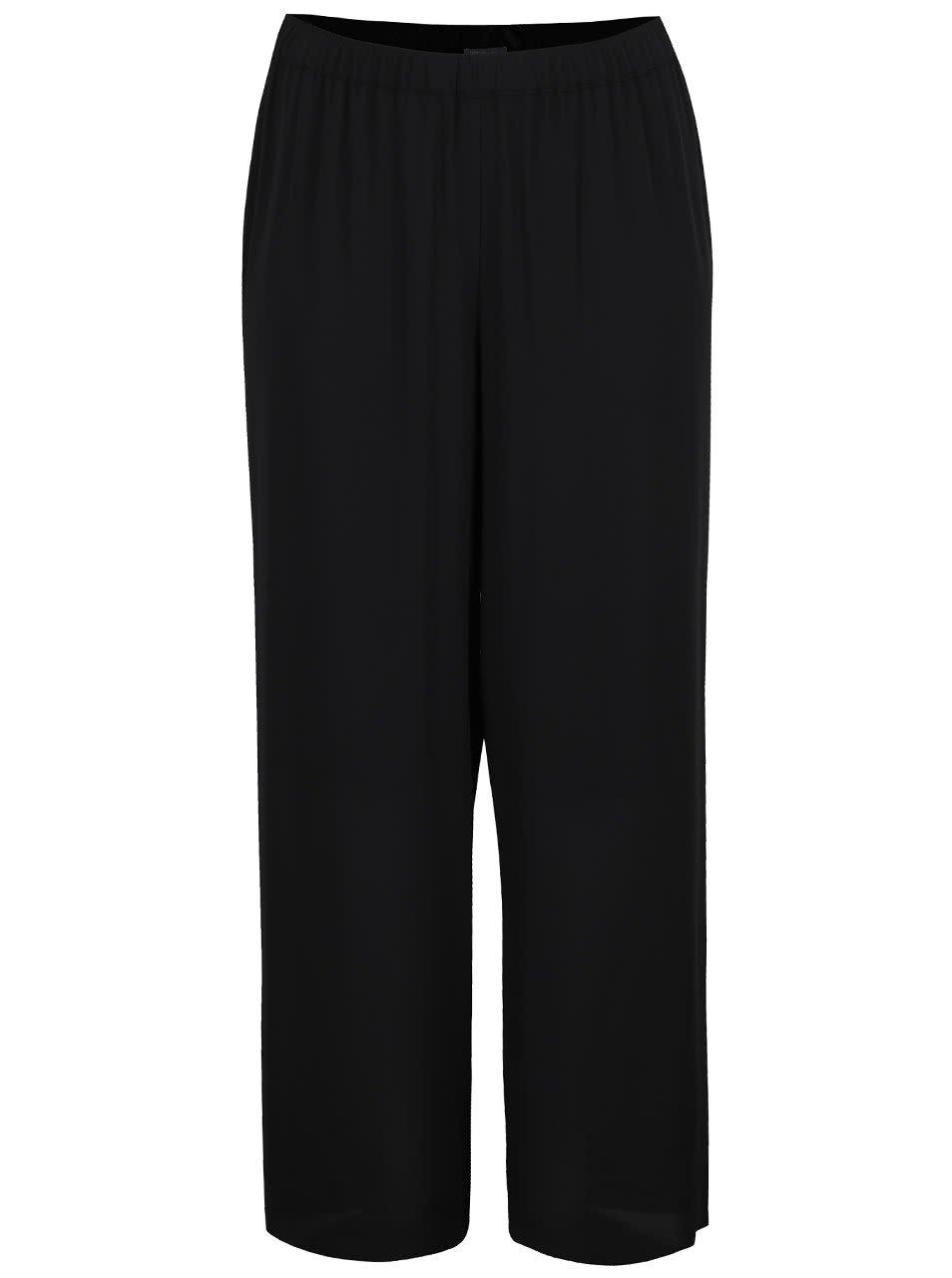Černé volné rovné kalhoty s gumou v pase Ulla Popken