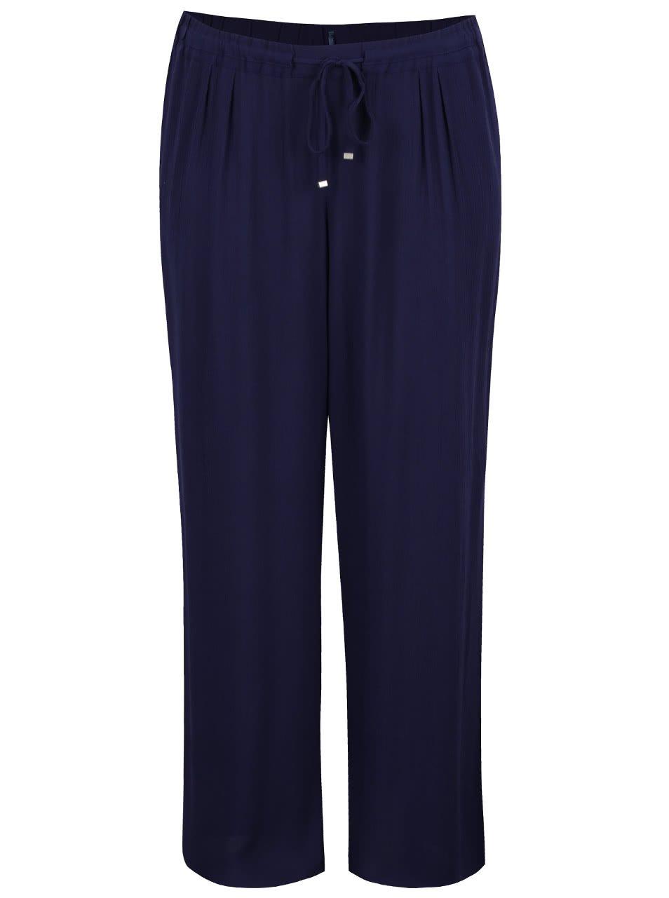 Tmavě modré volné kalhoty s gumou v pase Ulla Popken