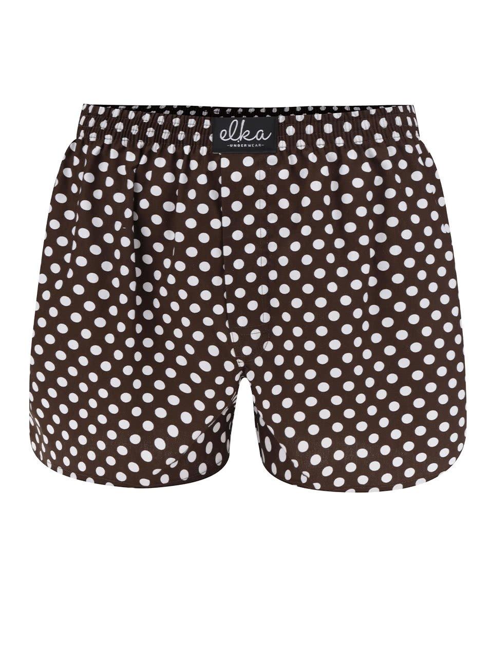 Hnědé pánské puntíkované trenýrky El.Ka Underwear