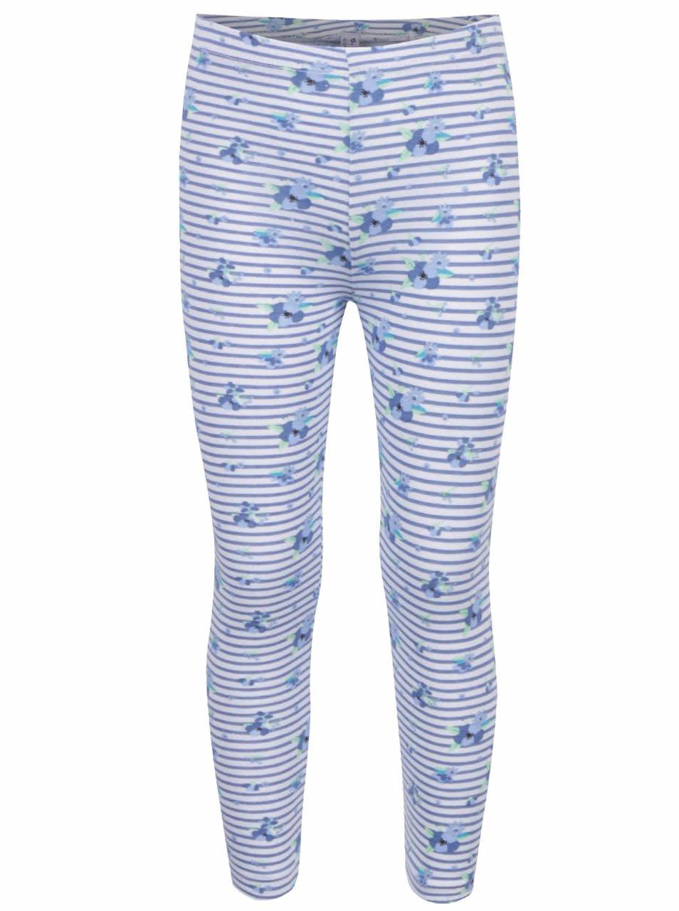 Bílo-modré pruhované holčičí legíny s motivem květin 5.10.15.