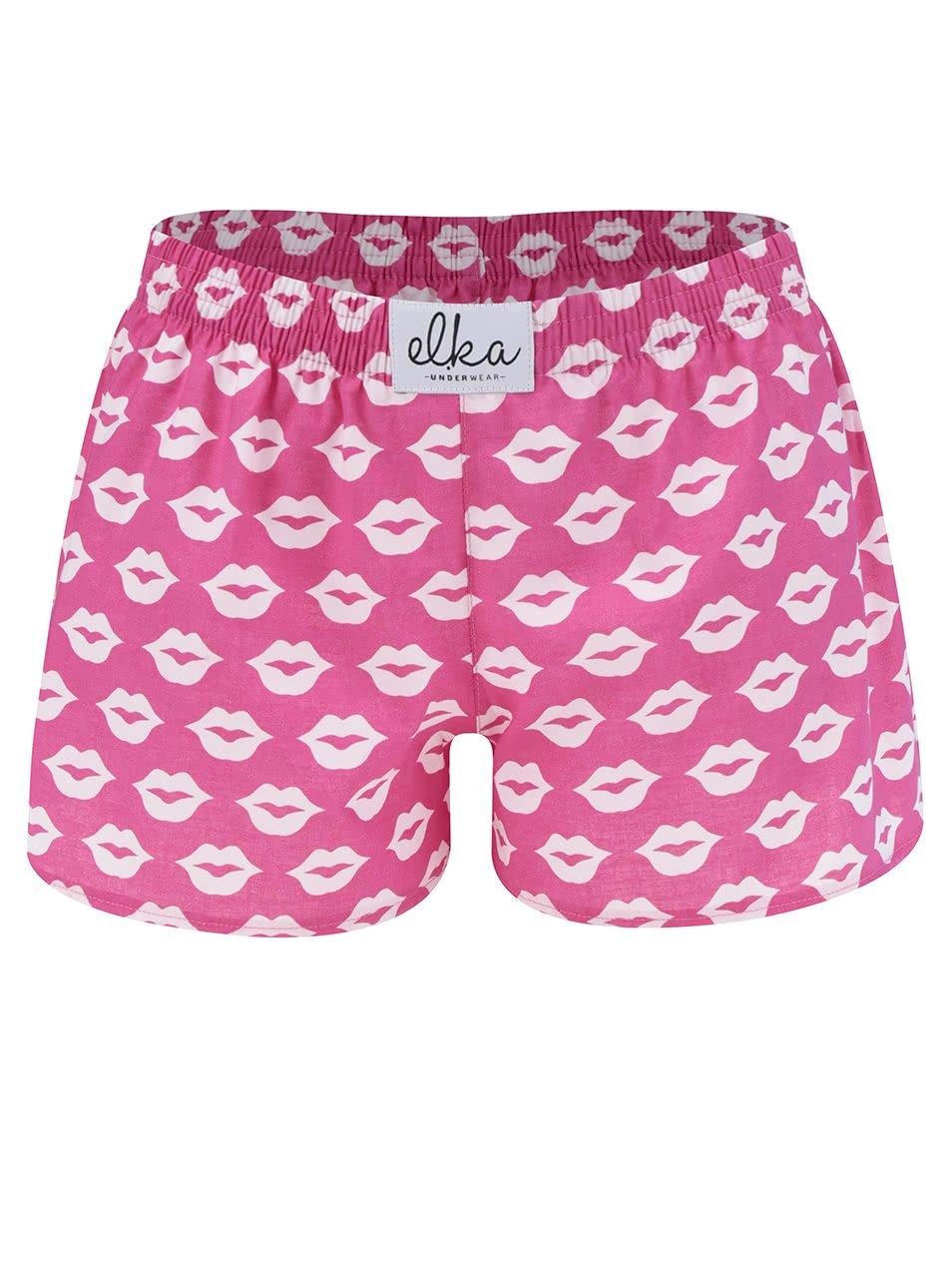 Růžové dámské trenýrky s motivem rtů El.Ka Underwear