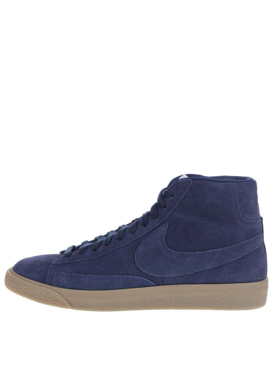 Tmavě modré pánské kotníkové semišové tenisky Nike Blazer Mid-Top
