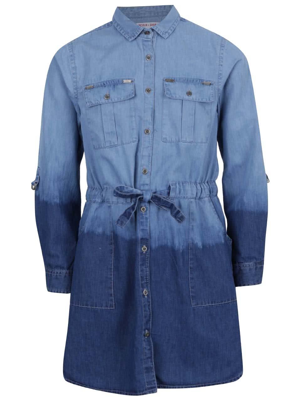 Modré holčičí džínové košilové šaty s ombré efektem 5.10.15.